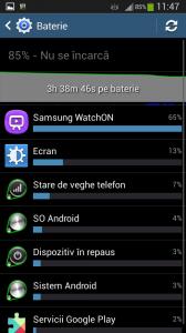 Consumul bateriei pe  Samsung Galaxy S4 Mini